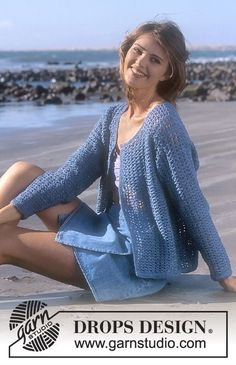 DROPS Crocheted cardigan in Muskat. Free pattern by DROPS Design.