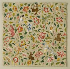 Embroidered Square with Animals, Birds, and Flowers, late 12th–14th century.  Eastern Central Asia, silk thread on silk