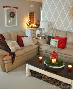 Christmas living room and entryway - use old window to decorate for Christmas - just hang a wreath over it and add a bough of greenery or a sign on top