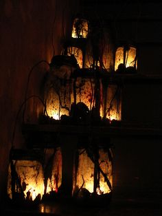 """witch lamps  """"...I plan to experiment with electric tea lights and glow sticks and see which is most effective.  I love this idea.  It serves my fetish for creepy low lighting sources and for mason jars LOL!"""""""