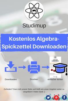 Bei uns könnt ihr kostenlos Algebra Spickzettel zum lernen Downloaden, mit denen ihr dann lernen könnt. Mathe lernen leicht gemacht.