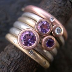 Amethyst and Diamond rings by Sue Yeoman and Michael jefferies. http://www.silverandstone.co.uk/html/designer_rings.html