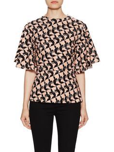 SHORTSLEEVED BLOUSE,ZIP BACK CLOSUR by See by Chloe at Gilt
