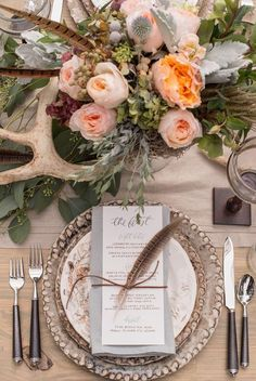 Rustic wedding reception inspiration with farm table, pheasant feathers and antler details designed by Invision Events, florals by Thorne & Thistle, paper goods by Marked, image by Heather Durham Photography. Rustic Wedding Reception, Boho Wedding, Fall Wedding, Antler Wedding Decor, Trendy Wedding, Lodge Wedding, Reception Table, Hunting Wedding, Deer Wedding