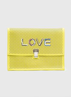 "Proenza Schouler Large Lunch Bag in Perforated Yellow Leather with ""Love"" on it"