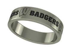 Wisconsin Badgers Stainless Steel 6mm Wide Ring Band (8). Officially Licensed University of Wisconsin Badgers Stainless Steel Ring Band. Available in Sizes 6 through 13 in Half Sizes. Precision Laser Engraving - High Quality Stainless Steel. Band Measures 6mm Wide - Satin Finish Top. Wear Everyday Without Fear of Damage.