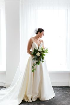 Bride in spaghetti strap dress and cathedral veil Gorgeous Wedding Dress, Wedding Wear, Wedding Dresses, Organic Modern, Bride Bouquets, Chicago Wedding, Spaghetti Strap Dresses, Simple Weddings, Wedding Vendors