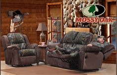 Littleton Camo Reclining Sofa and Rocker Recliner with Mossy Oak, 2pc Set, $3279 - Free White Glove Delivery