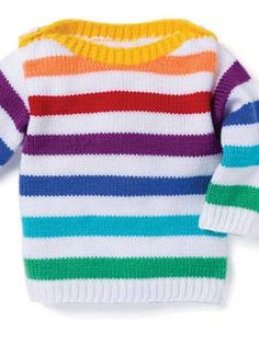 04 Stripe Sweater - Patons Baby Moments 002 - Laughing Hens