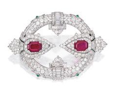 Platinum, Ruby, Emerald and Diamond Brooch, Charlton