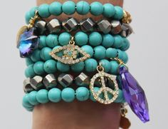 My bracelets with francesca ramirez we sell on SSD :) Autumn Winter Fashion, Autumn Fashion, Crystal Bracelets, Evil Eye, We The People, Flirting, Blessings, Turquoise Bracelet, Charms