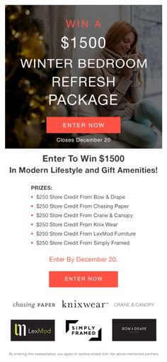 WIN a Lifestyle and Gift Package Worth Over $1500 From @craneandcanopy @lexmod @BowAndDrape @chasingpapernyc @knixwear @simplyframed Enter By 12.20.16