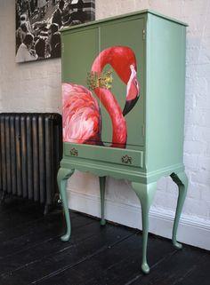 Flamingo Drinks Cabinet by Lucie Steel, via Behance