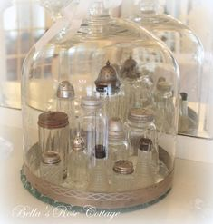 Salt Shakers under gorgeous cloche . LOVE old salt shakers! This display is perfect for my vintage dining room buffet! Shabby Vintage, Vintage Decor, Glass Domes, Glass Jars, Glass Canisters, Cloche Decor, Decoration Shabby, Romantic Decorations, The Bell Jar