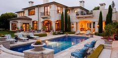classic traditional pool and garden