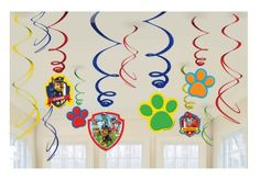 Hang these Paw Patrol swirl decorations all over your party for another level of decoration. The paw prints hang on blue, red, and green foil swirls and bounce with fun. 4th Birthday Parties, Birthday Party Decorations, 3rd Birthday, Birthday Ideas, Kid Parties, Paw Patrol Birthday Theme, Paw Patrol Party Supplies, Paw Patrol Decorations, Cumple Paw Patrol