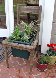 Saw one in GA with chicken wire 'basket' affixed where seAt would be; line with moss or purchased woven liner.