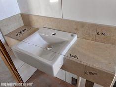 Tipos de cubas / pias para banheiro: Como escolher – Casinha Bonita Minimal Bathroom, Master Bathroom, Small Bathroom Plans, Tiny Powder Rooms, Bathroom Dimensions, Scandinavian Bathroom, Bathroom Toilets, Bathroom Layout, Bathroom Organization