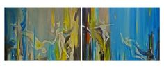 Enigma 1 and 2 by André Pillay. A blue abstract diptych painting available on FineArtSeen l The Home Of Original Art. << Pin For Later >>