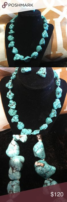 """Chunky Turquoise necklace and earrings set 18"""" turquoise necklace and earring set. Unique clasp. Pairs nicely with so many outfits! Jewelry Necklaces"""