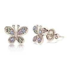 2eae5cda4 Kids Earrings - 925 Sterling Silver with a White Gold Tone Crystal  Butterfly Secure Screw Back