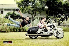 Funny concept of Pre-wedding with Harley Davidson motorcycle