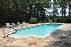 There's nothing like your own private pool! Love this stone deck.