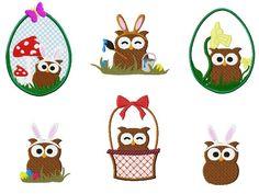"""Eulen Stickmuster Set """"Frohe Ostern"""" für eine Stickmaschine. Easter owls embroidery design for embroidery machines."""