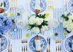 To subtly nod to the French theme, designer Tara Guérard focused on a traditional blue-and-white palette. | Lonny.com