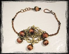 Antique brass filigree with brown marbled beads, adjustable bracelet by TwilightOfMySanity