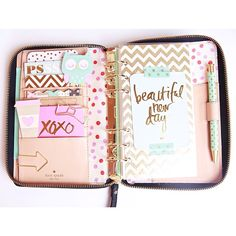"""Inside my Kate Spade Wellesley (my purse planner/wallet)  _________________  #katespadeplanner #wellesley #plannerlove #planneraddict #prettyplanner"""