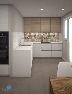 La #cocina se distribuirá con una #encimera en forma de L y contará con un #fregadero y una placa vitrocerámica. #reformas #kitchen #hogar #interiorismo #3D