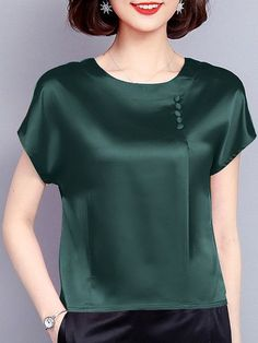Pleated Short Sleeve Casual Crew Neck Buttoned Satin Plus Size Blouse - M . Pleated Short Sleeve Casual Crew Neck Buttoned Satin Plus Size Blouse – Mary Brito – # Buttoned Trendy Fashion, Plus Size Fashion, Fashion Outfits, Fashion Tips, Fashion Design, Fashion Trends, Womens Fashion, Cheap Fashion, Ladies Fashion