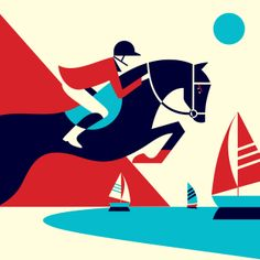 Global Champions Tour horse jumping portrait illustration by Malika Favre for their U. appearances in 2012 Simple Illustration, Graphic Illustration, Graphic Art, Illustration Styles, Portrait Illustration, Graphic Design, Kunst Poster, Arte Popular, Art Graphique