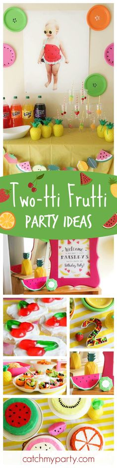 Sheena J's Birthday / Tutti Frutti - Paisley's TWO-tti Frutti Party! at Catch My Party Second Birthday Ideas, Girl Birthday Themes, Birthday Design, Baby First Birthday, Birthday Fun, First Birthday Parties, Birthday Decorations, First Birthdays, Fiesta Decorations