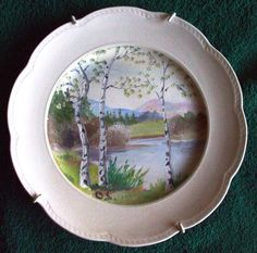 Sweden  Wall plate tile plaque Gefle painting OS earthenware RARE