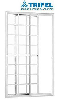 Porta de Correr em Alumínio Branco Quadriculada 2 Folhas Uma Fixa Vidro Liso Com Fechadura - Linha 25 Trifel