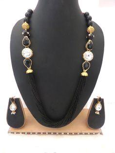 Latest Indian Bollywood Celebrity CZ Black White Necklace Earrings Set