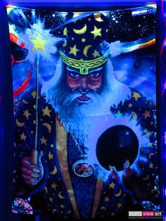 """Merlin"" UV-Blacklight Fluorescent Glow Psychedelic Art Backdrop, £90 in Tripleview Art Shop. #psychedelic #psy #goa #trance #psytrance #goatrance #rave #club #festival #trippy #hippie #esoteric #mystic #spiritual #visionary #symbolism #UV #ultraviolet #blacklight #fluorescent #fluoro #fluo #neon #glow #luminescent #art #backdrop #banner #wallhanging #tapestry #deco #merlin #wizard #magus #magic #rainbow #mushrooms"