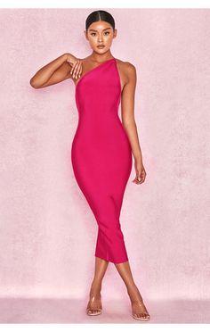 e08b2827c2 Clothing   Bandage Dresses    Sasha  Hot Pink One Shoulder Bandage Dress  House Of