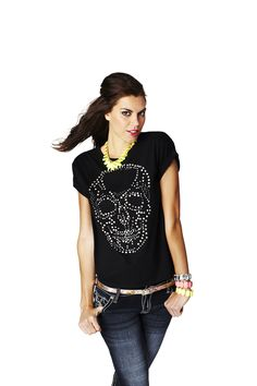 Give your edgy skull tee a pop of neon with a statement necklace.