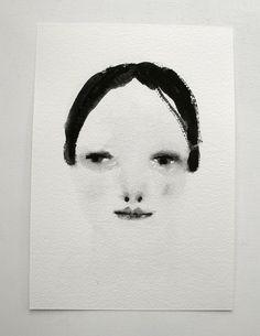 darkhaired dreamer girl  larger gouache portrait by cathycullis