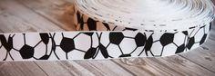 "Soccer ribbon - 7/8"" grosgrain - 3 or 5 yard lot - Soccer ball ribbon - Soccer season - Soccer Hair Bow DIY - Sports ribbon - Black & white"