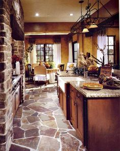 Tuscan style flooring for kitchen