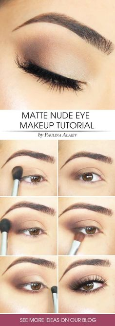 Matte Eyes Makeup Tutorial Nude makeup ideas for natural looks in a simple step by step tutorial with lipsti. - Matte Eyes Makeup Tutorial Nude makeup ideas for natural looks in a simple step by step tutorial with lipstick, eyeliner, and contours. Matte Eye Makeup, Simple Eye Makeup, Eye Makeup Tips, Makeup Hacks, Makeup Ideas, Simple Makeup Tutorial, Natural Eye Makeup Step By Step, Simple Smokey Eye, Simple Eyeshadow Looks