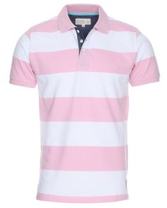Men's White/Pink BC London Striped Polo Shirt (£12.00)