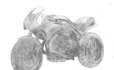 Trying to learn how to draw my next bike, this is my first attemp, based on a Moto Guzzi Griso 1200,  modified with 2 shorts exhausts, one exhaust manifold on each side of the bike, and cafe racer styled fork head