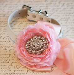 Pink Floral Dog Collar, Vintage wedding, Pet Wedding Accessory, Pink and Blush wedding, Pink Lovers, Dog Birthday Accessory