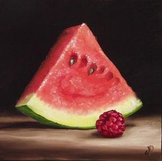 Watermelon and Raspberry, J Palmer Daily painting Original oil still life Art