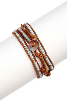Chan Lu. Swarovski Crystal & Sterling Silver Nugget Beaded Leather Wrap Bracelet. $276 I can make this!